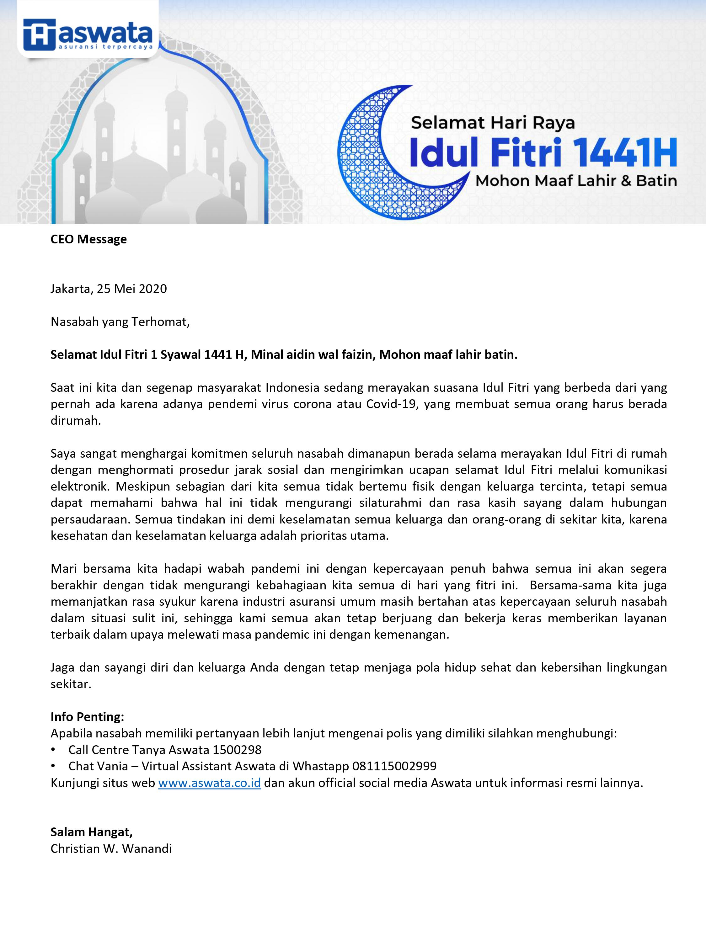 CEO Message IdulFitri Eksternal